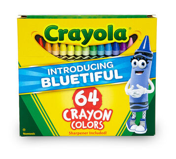 64 count Crayons with New Bluetiful front of box