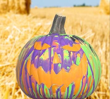 Paint Pour Pumpkin Craft