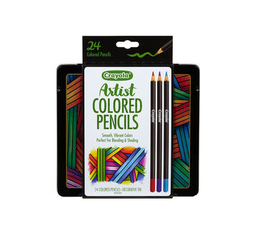 24 ct. Artist Colored Pencils w/Tin