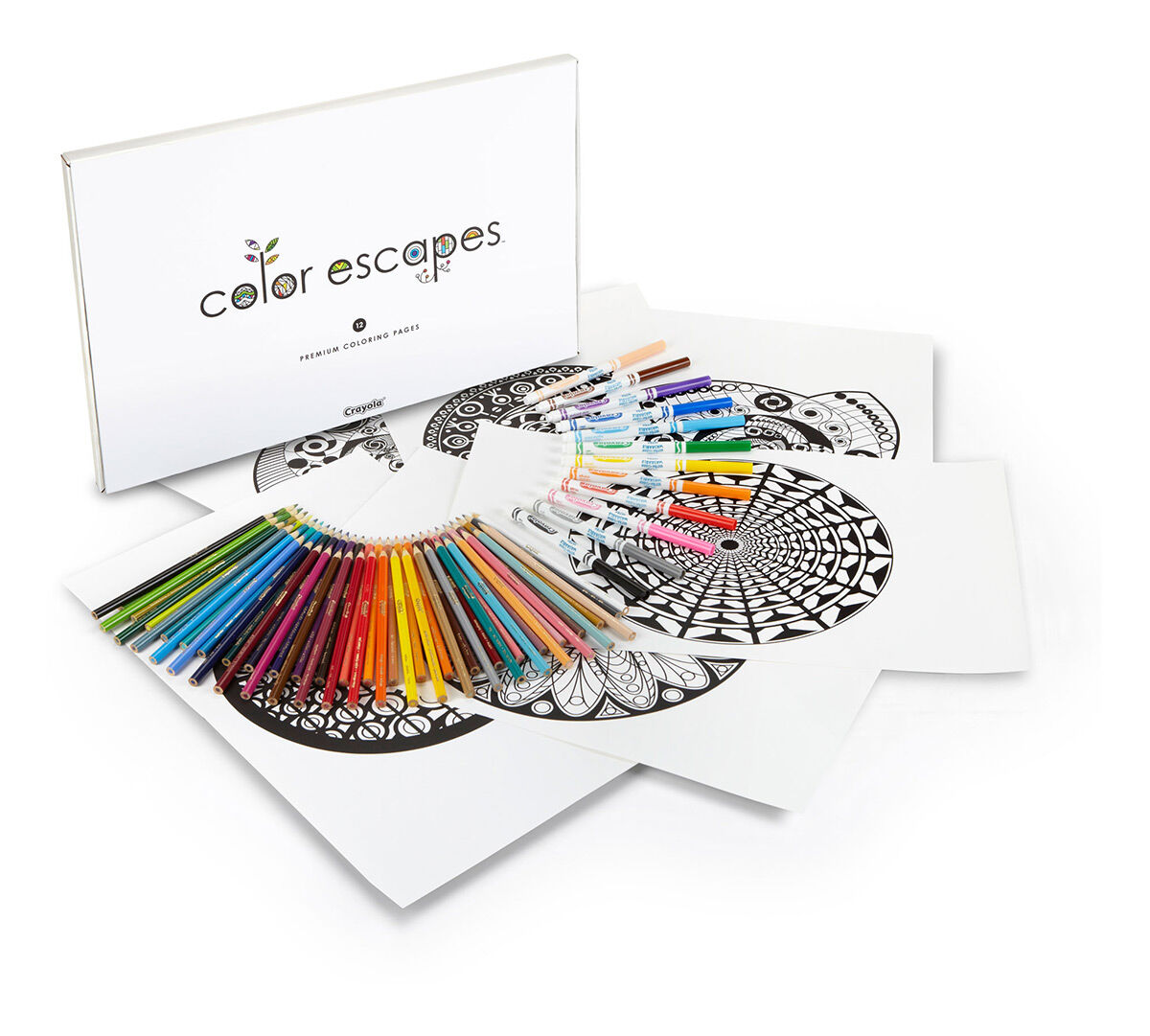 Color Escapes Adult Coloring Kit, Kaleidoscopes - Crayola 14.5.0.8