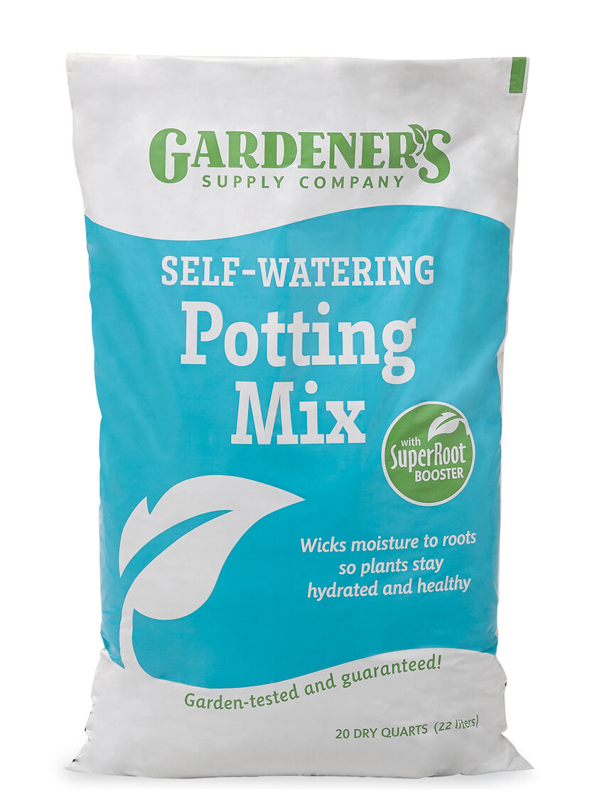 Self watering potting soil mix with root booster for Potting soil