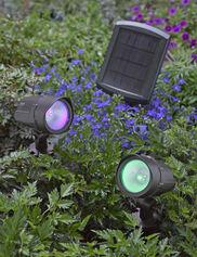 Color LED Solar Spotlights, Set of 2