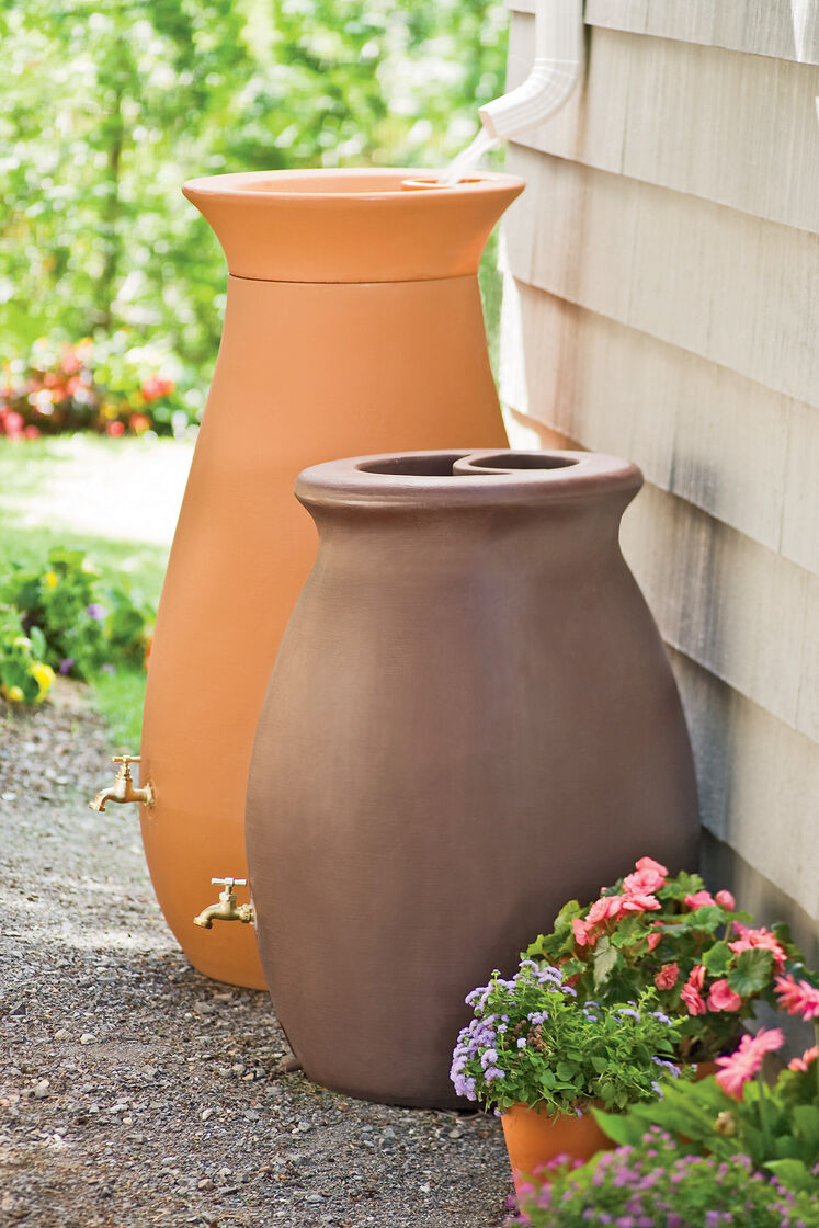 Rainwater Barrel Urn Shape Holds 65 Gallon Gardeners Com
