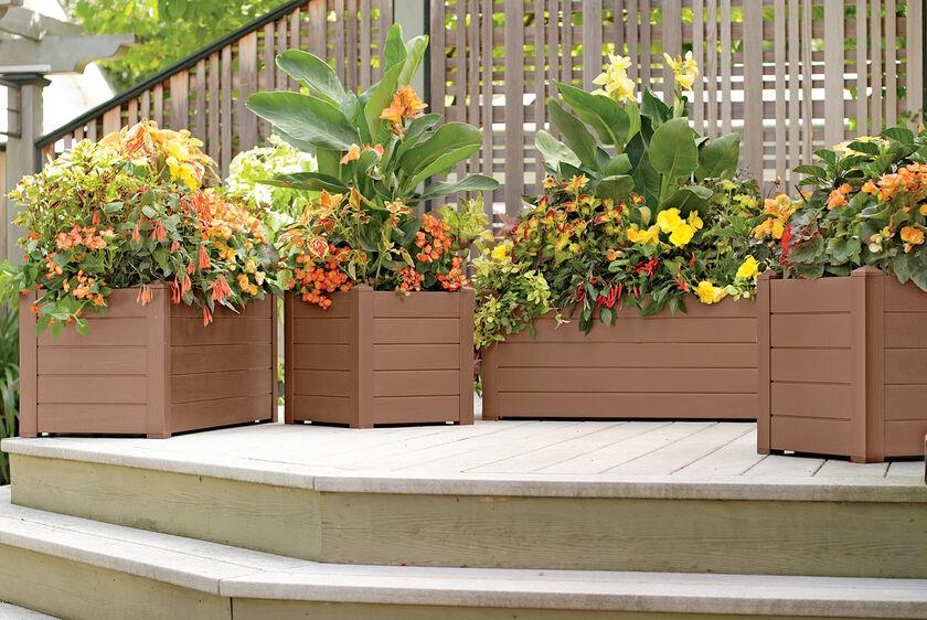 Self watering terrazza trough planters gardener 39 s supply for Gardeners supply planters