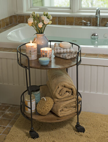 Rustic side table astoria rolling accent table for Decoration armoire salon