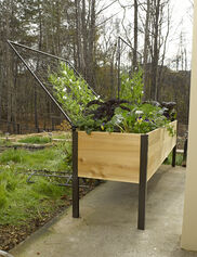 Elevated Cedar Planter Box and Space-Maker Pivoting Trellis Set, 2' x 8'