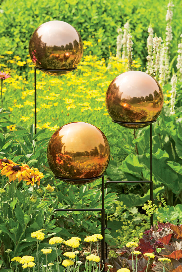 Gazing Ball Copper Colored Stainless Steel Gazing Globe