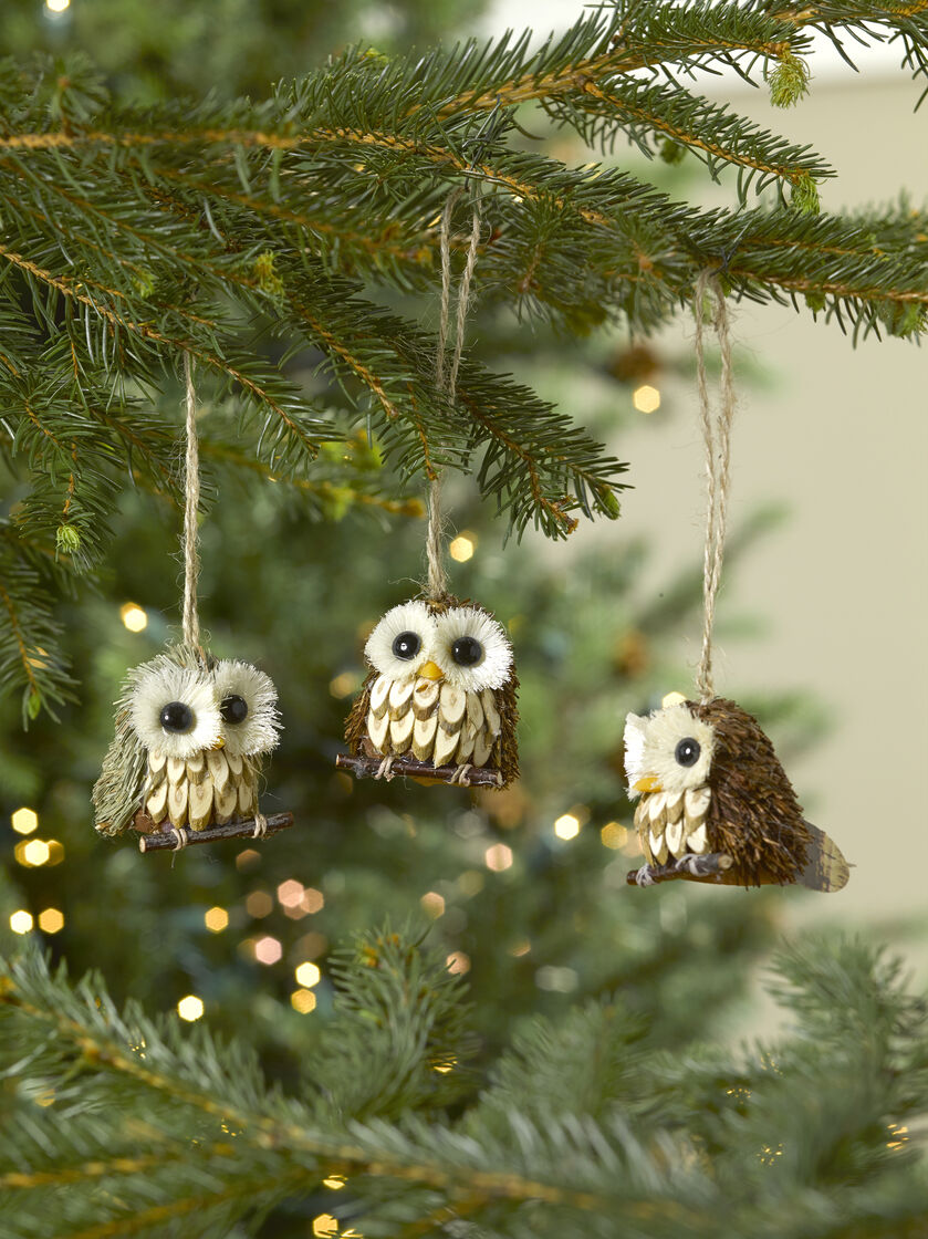 Owl Ornaments, Set of 3 for Your Christmas Tree ...