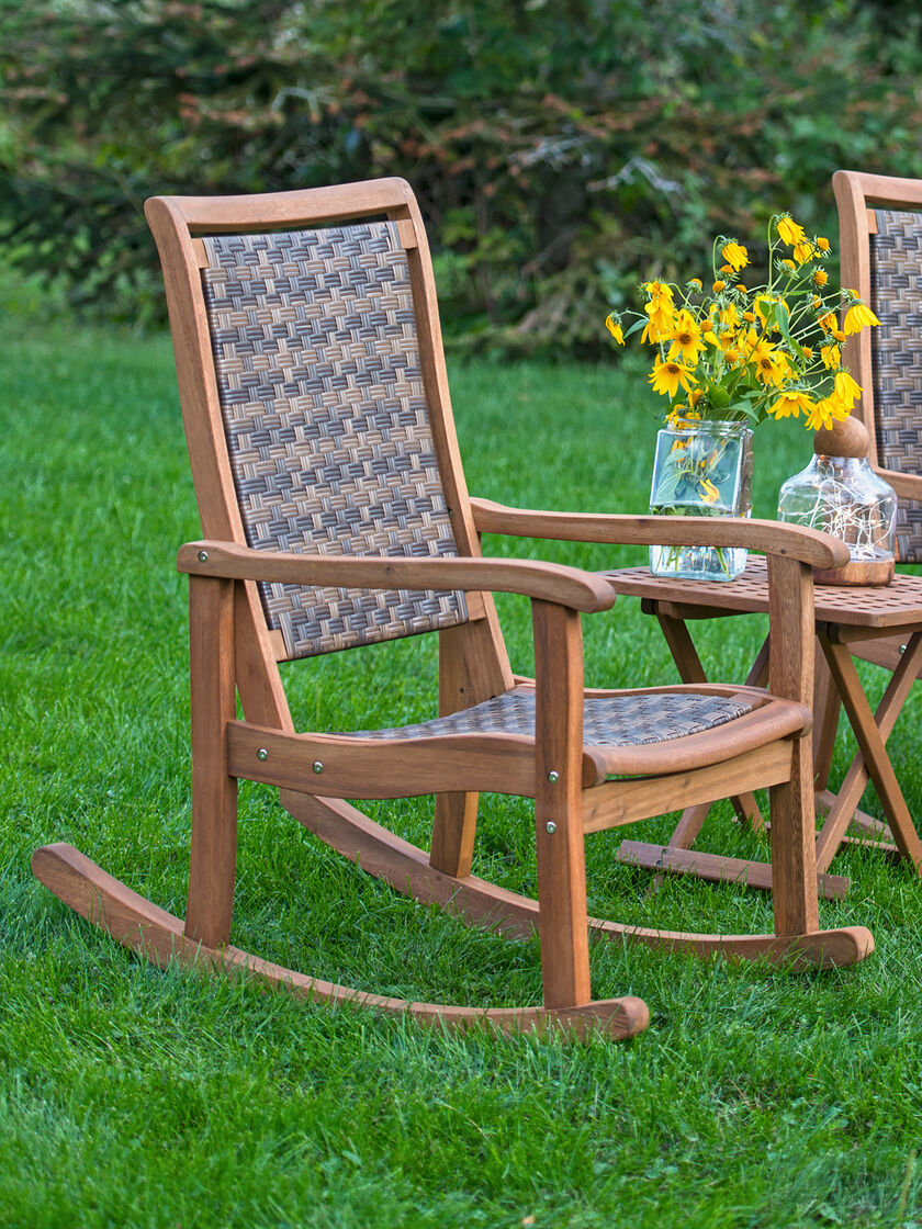 Resin Wicker Amp Eucalyptus Rocking Chair Gardeners Com
