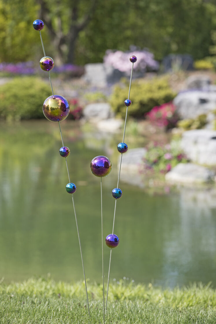 Gazing ball stakes blue and purple stainless steel