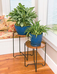 Copper-Finish Plant Stands, Set of 2