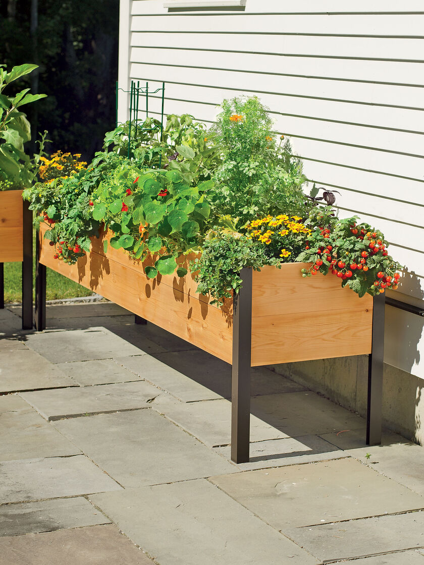 planter boxes standing height cedar raised garden. Black Bedroom Furniture Sets. Home Design Ideas