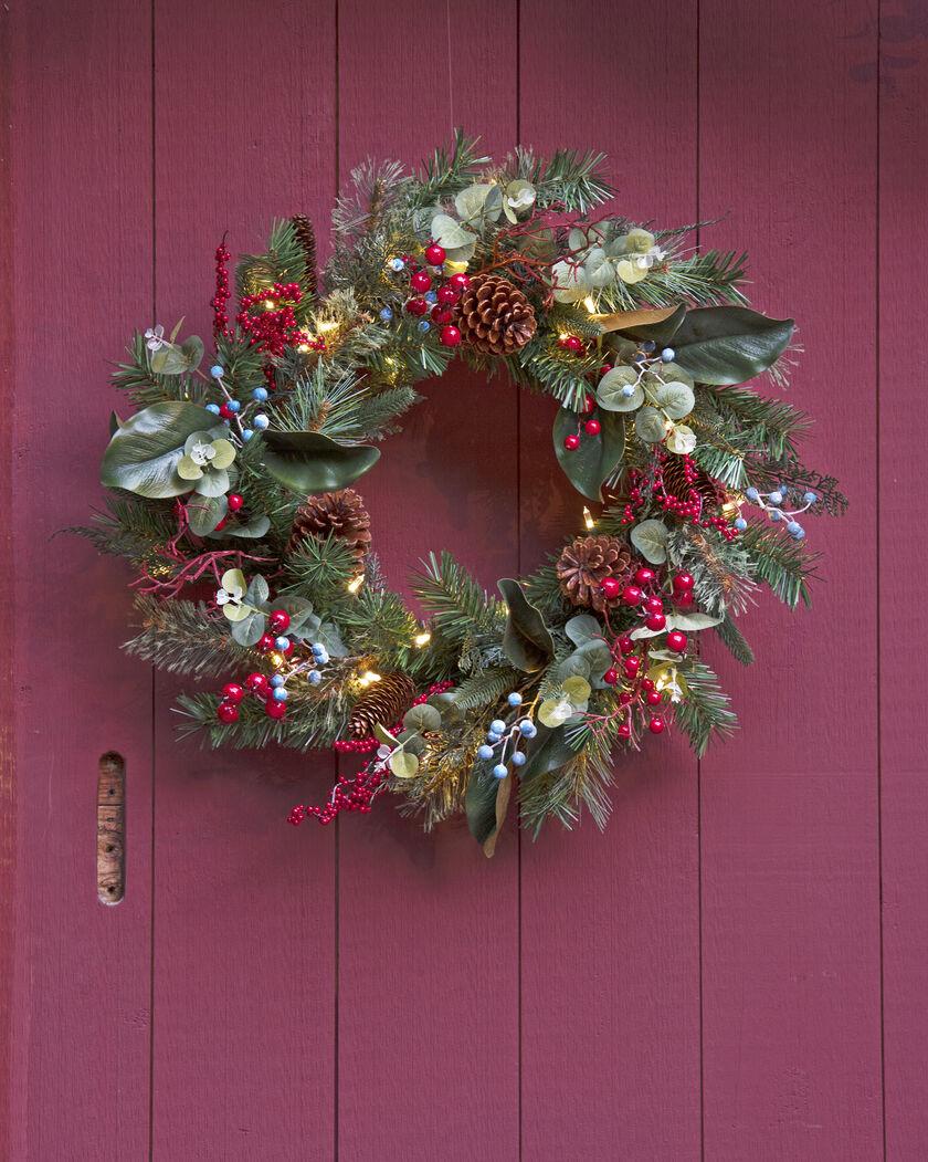 pre lit christmas door wreath