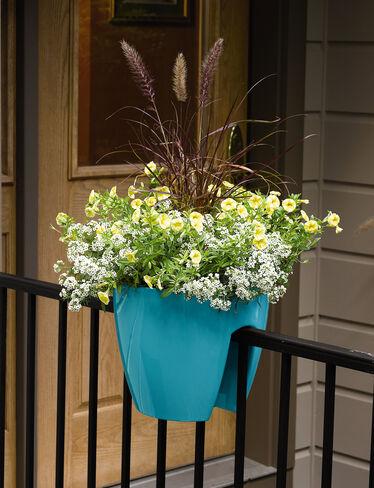 railing planters self watering saddle planter. Black Bedroom Furniture Sets. Home Design Ideas