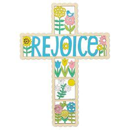 """Rejoice"" Laser-Cut Wood Cross, , large"
