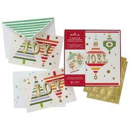 JOY With Trees and NOEL ornaments 2-Pack Boxed Christmas Cards With Seals, , large
