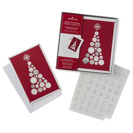 Personal Monogramed Silver Christmas Tree Boxed Christmas Cards, , large