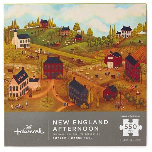 New England Afternoon Folk Art Colonial Americana 550-Piece Jigsaw Puzzle