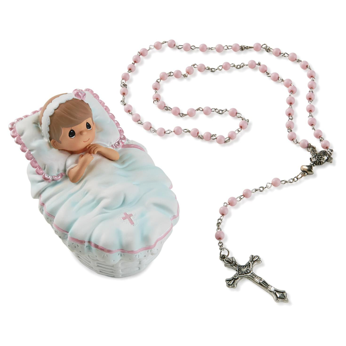 Baptism Ornament Cross Ornament Girl Baptism Ornament Girl: Precious Moments® Baptism Girl Box With Pink Rosary