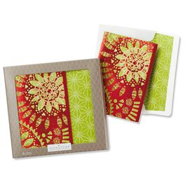 Hallmark Signature Collection Green Snowflakes on Red Boxed Christmas Cards, , large