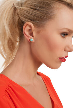 TURQUOISE CABACHON POST EARRING