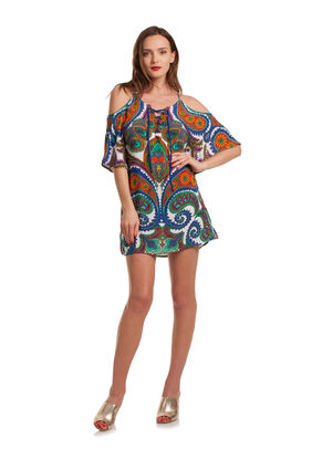 PACIFIC PAISLEY OFF SHOULDER TUNIC