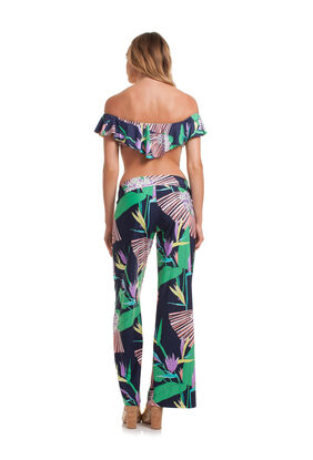 MIDNIGHT PARADISE ROLL TOP WIDE LEG PANT