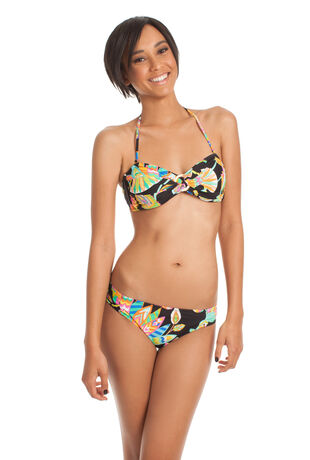 TAHITIAN FLORAL SHIRRED SIDE HIPSTER
