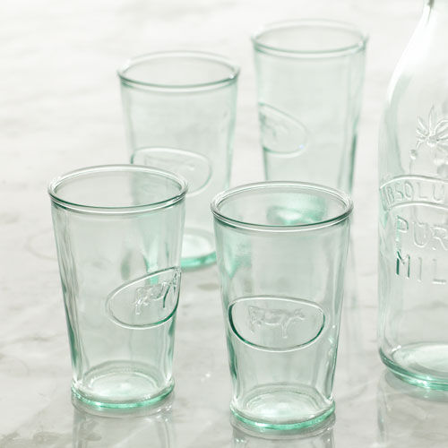 Cow Embossed Milk Glasses
