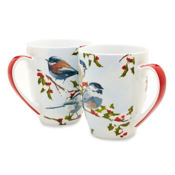 Chickadee & Holly Mug Set