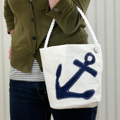 Navy Anchor Bucket Bag