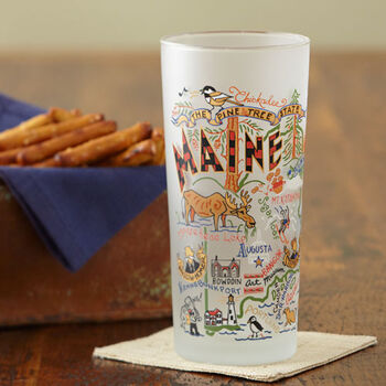 Maine Map Drinking Glass