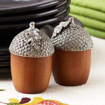 Wood Acorn Salt and Pepper Shakers