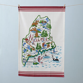 Maine Map Tea Towel