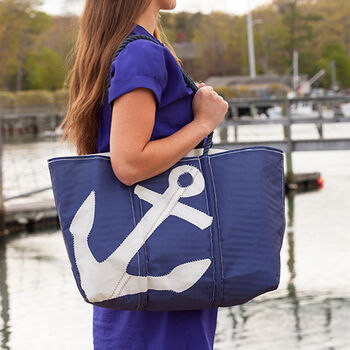 White on Navy Anchor Tote