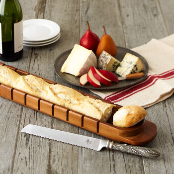 Baguette Board with Pewter-Handle Knife