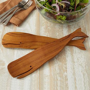 Teak Whale Salad Servers