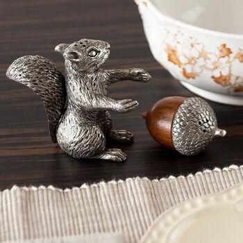 Squirrel with Wood Acorn Salt & Pepper Set