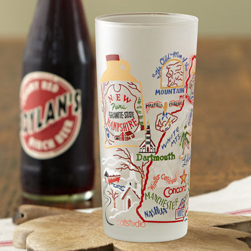 New Hampshire Map Drinking Glass