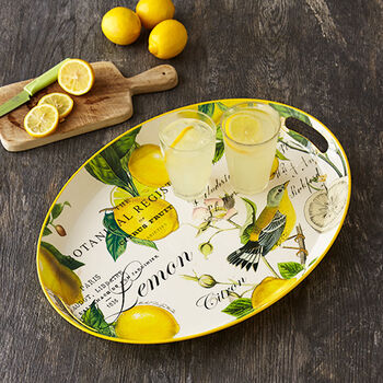 Lemon Basil Decoupage Medium Metal Tray