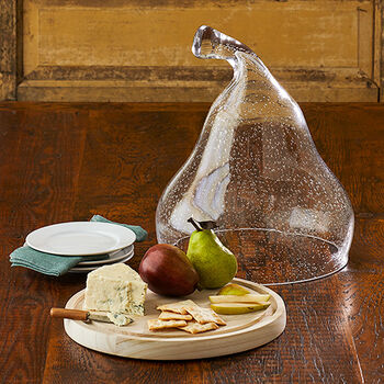 Glass Pear Domed Cheese Board