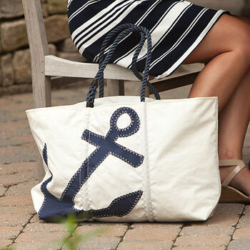 Navy Anchor Zip Tote