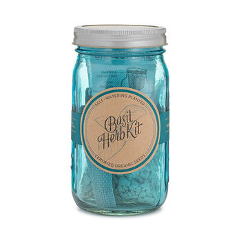 Blue Garden Jar with Basil