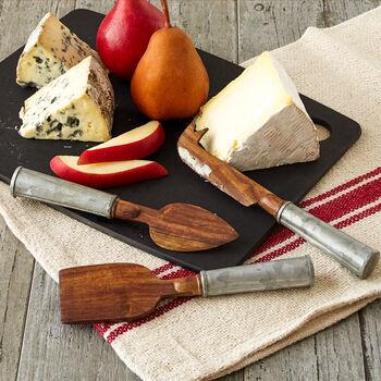 Iron Handle Wood Cheese Set