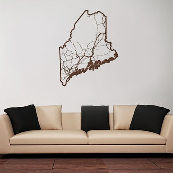 Wooden State Map of Maine