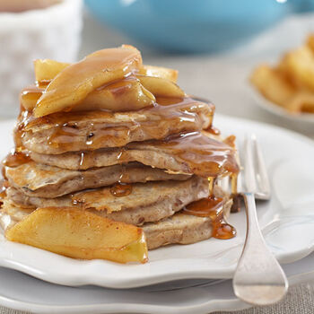 Pecan Pancakes with Maple Glazed Apples