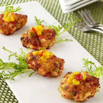 Pan Fried Maine Lobster Cakes with Spicy Corn Relish