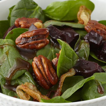 Roasted Beets & Candied Walnut Spinach Salad