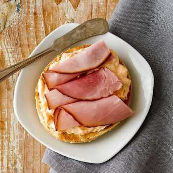 Red Pepper Jelly Cream Cheese topped with Ham Bagel