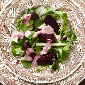 Roasted Beet Salad with Cranberry & Sour Cream Dressing